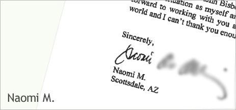 Naomi M's letter