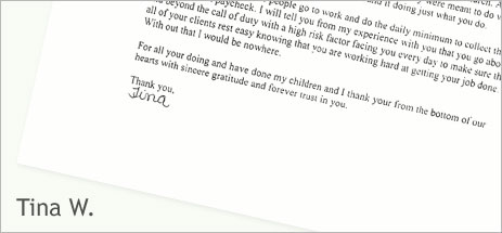 Tina W's letter